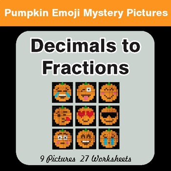 Halloween: Decimals To Fractions - Color-By-Number Math Mystery Pictures