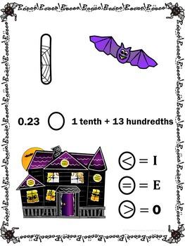 Halloween Math Review Scavenger Hunt Game Comparing Decimals/Place Value 5.NBT.3
