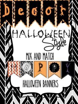 Halloween Decor: Happy Halloween Mix & Match Printable Banners