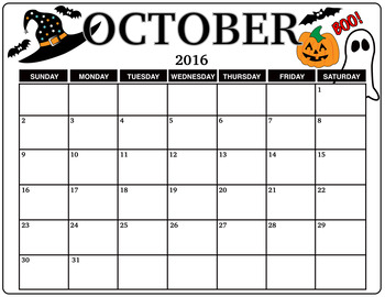 Halloween Decorated Calendar for October 2016