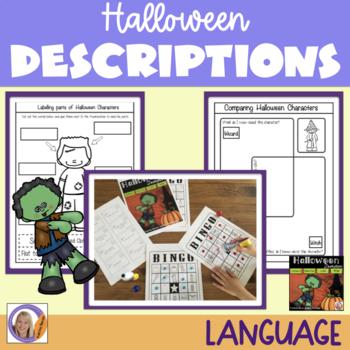 Halloween Descriptions-Compare, Describe, Label & Bingo