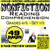 NonFiction Reading Comprehension Passages & Questions   Set 1/3   Grade 4-5