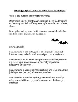 halloween descriptive paragraph writing by the lion s den of learning halloween descriptive paragraph writing