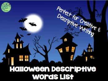 Halloween Descriptive Word List