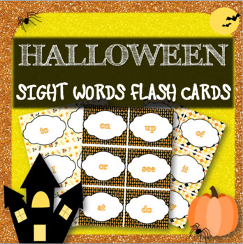 Sight Words Flashcards & Memory Game EDITABLE Halloween Theme