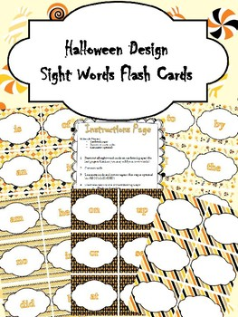 Halloween Design Sight Words Flash Cards or Memory Game