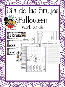 Halloween/Día de las brujas - Vocab Bundle and Literacy centers - Spanish