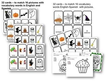 Halloween Dia de los muertos: Memory game- coloring Spanish- English