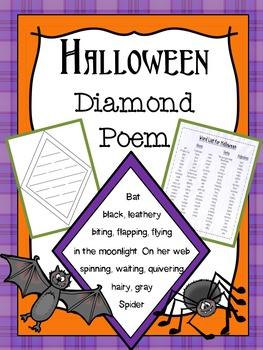 Halloween Diamond Poem Writing Activity