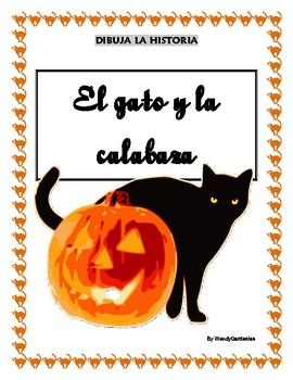 Halloween! Dibuja la historia: el gato y la calabaza