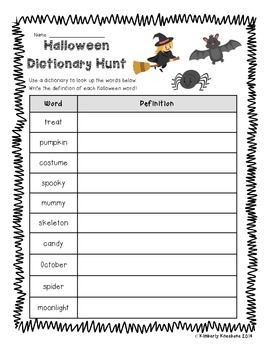 Halloween Dictionary Hunt - Dictionary Practice - Guide Words