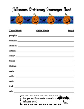 Halloween Dictionary Scavenger Hunt
