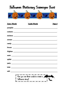 Halloween Dictionary Scavenger Hunt