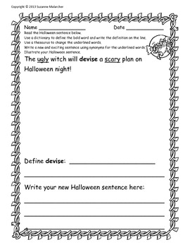 Halloween Dictionary and Thesaurus Activities!