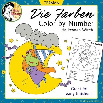 (Halloween) Die Farben German Colors Color by Number Cute Witch Worksheet