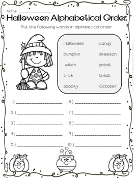Halloween Alphabetical (ABC) Order - Differentiated