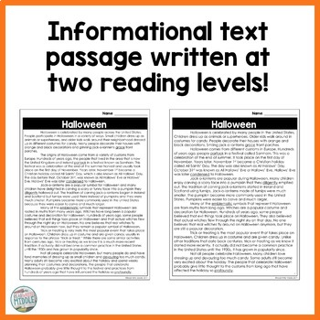 Halloween Differentiated Informational Text Reading Passage & Activities