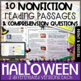 Halloween Differentiated Nonfiction Passages and Questions