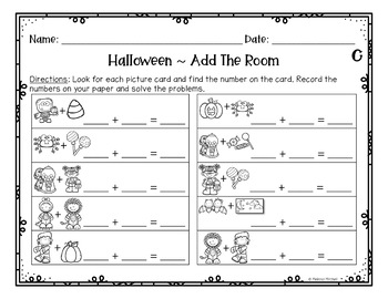 Halloween Differentiated Write and Add the Room Center