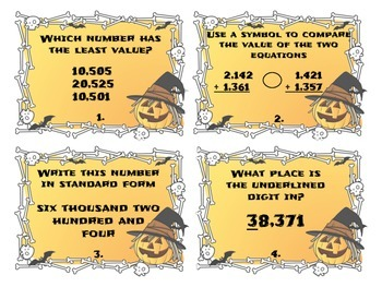 Halloween Differentiated Place Value Task Cards
