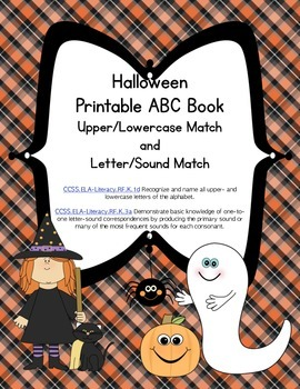 Halloween Letter Sound Printable Matching Book (Common Core Aligned)