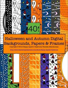 Halloween Digital Backgrounds, Papers and Frames