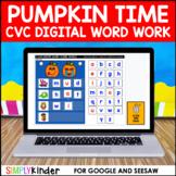 Halloween Digital CVC Word Work Activities for Google and Seesaw