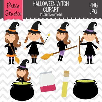 Halloween Digital Clipart, Witch Clipart, Witch Clip Art - Fall143