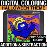 Halloween Digital Math Coloring Addition & Subtraction 1st
