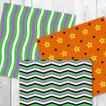 Halloween Digital Paper, Black and Orange Backgrounds, October Scrapbook Paper