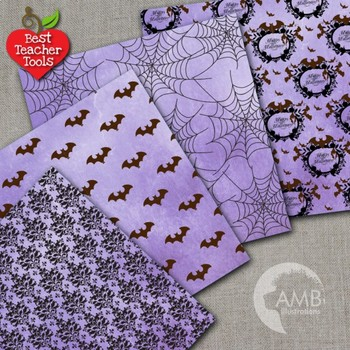 Halloween Digital Paper, Gothic Damask Paper, Grunge Halloween, AMB-1097