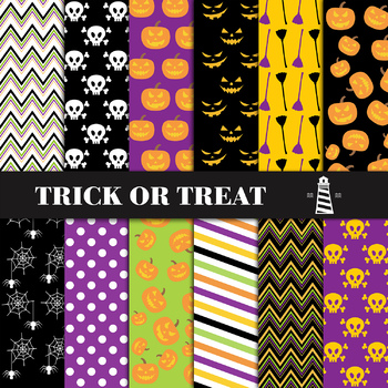 Halloween Digital Paper, Halloween Digital Backgrounds, Halloween Patterns