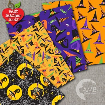 Halloween Digital Paper, Owl Witches Clipart, AMB-995
