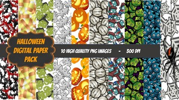 Halloween Digital Paper Pack. 10 images. Random patterens. 300 DPI