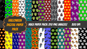 Halloween Digital Paper Pack-210 images