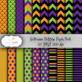 Halloween Digital Paper Pack - Purple, Orange, & Green Che