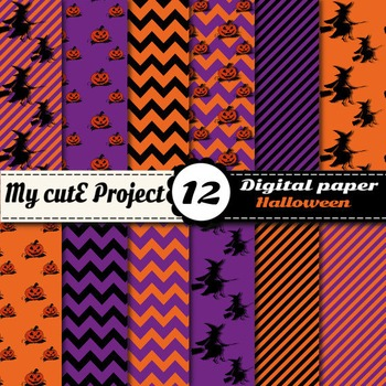 Halloween Digital Paper - Scrapbooking - Witches, pumpkins, stripes, chevron