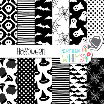 Halloween Digital Paper - black and white