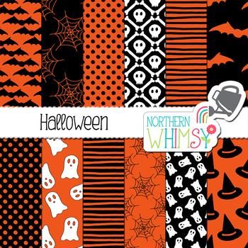 Halloween Digital Paper - orange