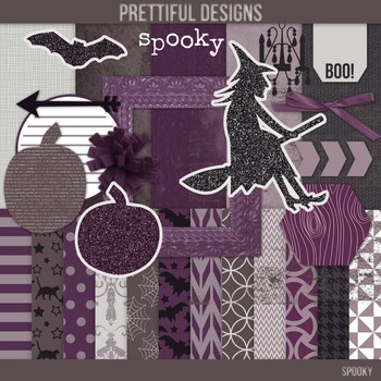 Halloween Digital Paper with Bonus Clip Art Kit Commercial Use Spooky