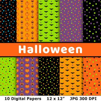 Halloween Digital Papers 2, Halloween Background Patterns, Bats, Jack O'Lanterns