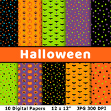 Halloween Digital Papers 2, Halloween Background Patterns,