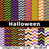 Halloween Digital Papers- Chevron, Zig Zag Halloween Backg