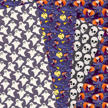 Halloween Digital Papers - Fun Halloween Seamless Pattern Background