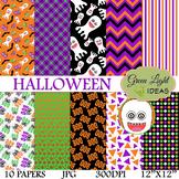 Halloween Digital Papers / Halloween Backgrounds / Hallowe