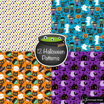 Halloween Digital Papers / Halloween Theme Patterns / Witch / Cat (P13)