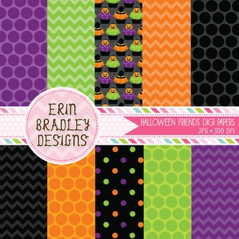Halloween Digital Papers - Orange Black Purple Green