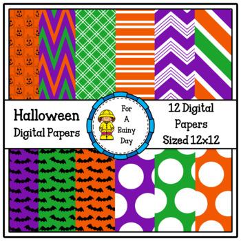 Halloween Digital Papers (Purple, Green, & Orange)