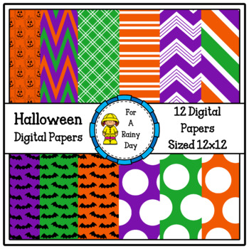 Halloween Digital Papers (Purple, Green, & Orange)