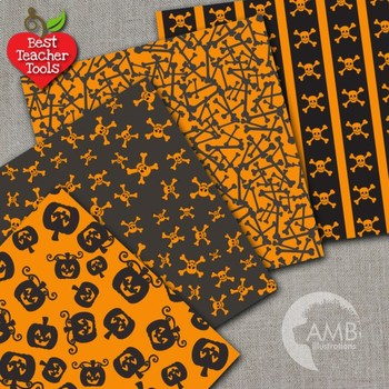 Halloween Digital Papers Wispy Ghosts in Black and Orange, AMB-1057